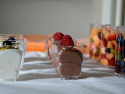 Buffet in der Alten Seminarturnhalle Nagold Mousse au chocolate mit weißer Schokolade und dunkler Schokolade